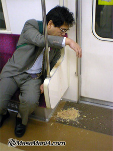 Photo of Japanese business man's vomiting life